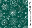 Seamless green christmas pattern with white snowflakes (vector) - stock vector