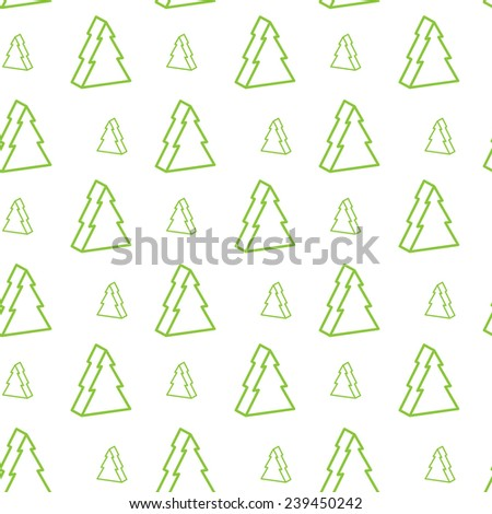 Seamless green christmas-tree pattern  - stock vector