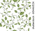 Seamless green floral pattern on white background - stock vector