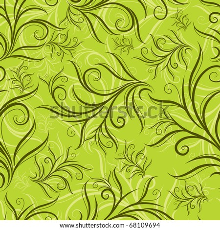 "Seamless green floral pattern with leafs (From my big ""Seamless collection"")"