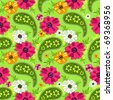 Seamless green floral pattern with vivid flowers and paisleys (vector) - stock photo
