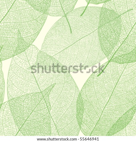 Seamless green leaves pattern - stock vector