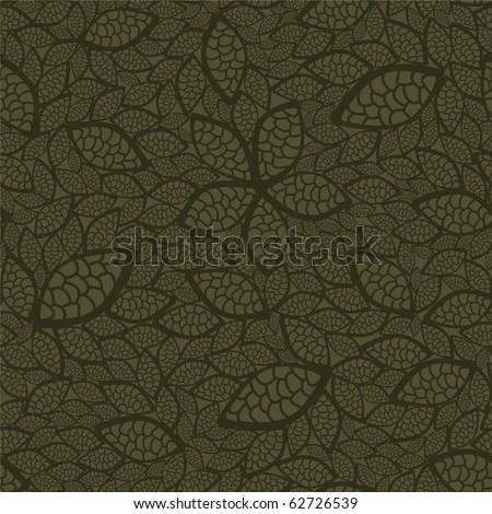 Seamless green leaves wallpaper - stock vector