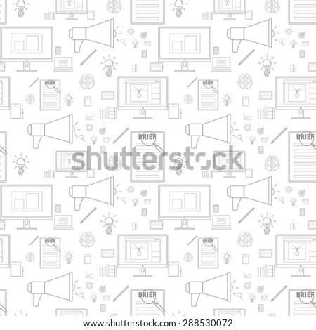 Seamless grey pattern background with icons in lines style for design and computer work  - stock vector