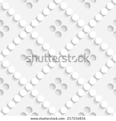 Seamless Grid Pattern. Vector Circle and Square Background. Regular White Texture - stock vector