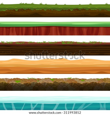Seamless grounds, soils and land vector set for UI games. Surface water stone grass snow ice illustration - stock vector