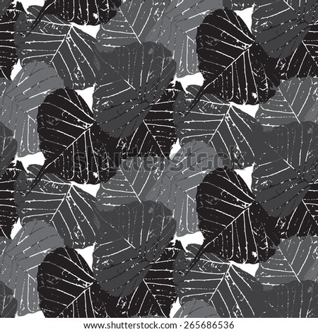 Seamless Grunge Style Leaf pattern on white vector background. Gothic themed design. Cloth design. Black and white style. Used for wallpaper, pattern fills, web page background & surface textures. - stock vector