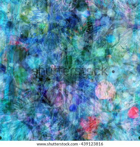 Seamless grunge texture. The predominance of blue, green. Formless spots with sharp edges, like thorns or leaves. Stains, curved strips, wavy lines, stylized petals. Randomly mixed. Watercolor effect. - stock vector