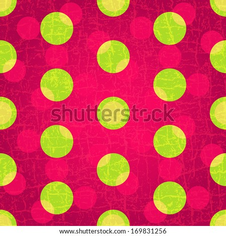 Seamless grungy purple pattern with green and pink polka dots  (vector EPS 10) - stock vector