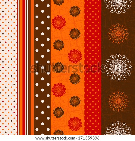 Seamless grungy striped pattern with polka dots and flowers (vector) - stock vector