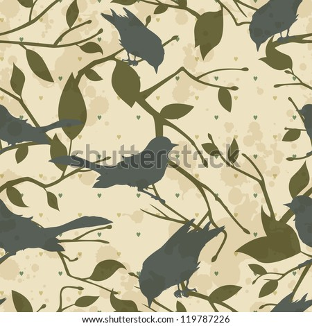 Seamless grungy vector pattern with birds and tree branches - stock vector