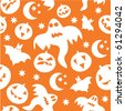 Seamless halloween background with ghosts, bats, pumpkins and stars - stock vector