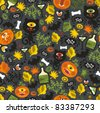 Seamless Halloween background with monsters. Vector pattern. - stock vector