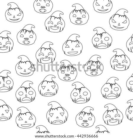 Seamless Halloween Backgrounds. Line Art Pumpkins Wallpaper - stock vector