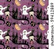 seamless halloween pattern - stock photo