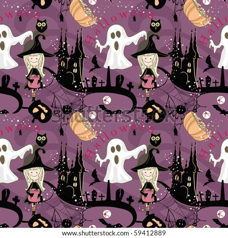 seamless halloween pattern - stock vector