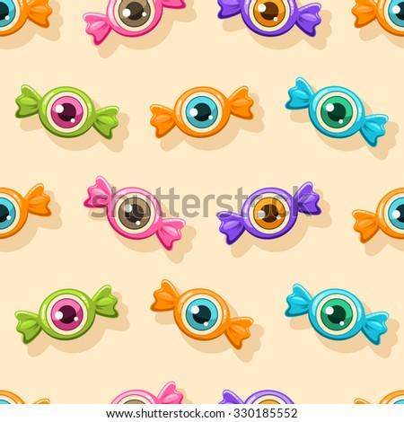 Seamless Halloween pattern. Halloween candies with eyes. - stock vector