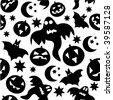 Seamless halloween pattern with black ghosts on white background. Vector illustration. - stock vector