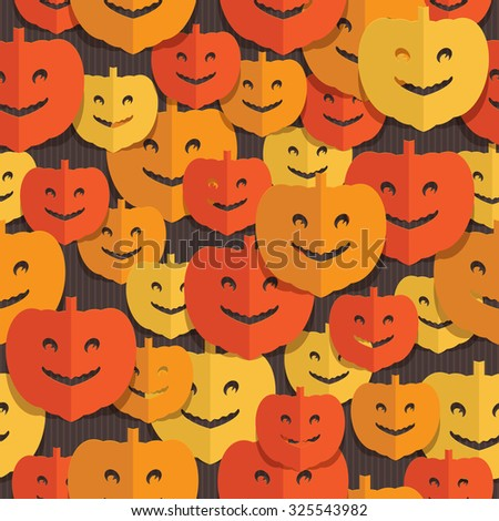 seamless halloween pattern with cut out paper pumpkins - stock vector