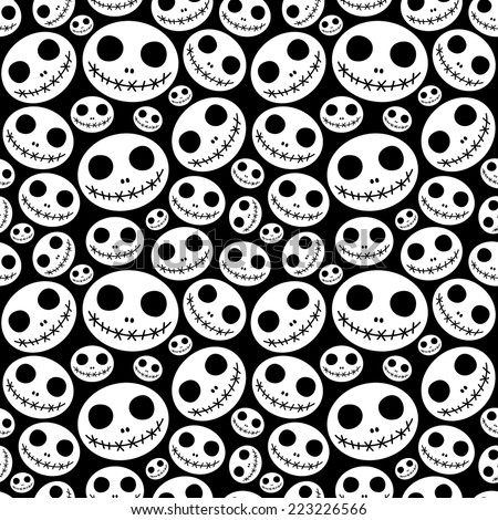 Seamless halloween pattern with skeleton faces - stock vector