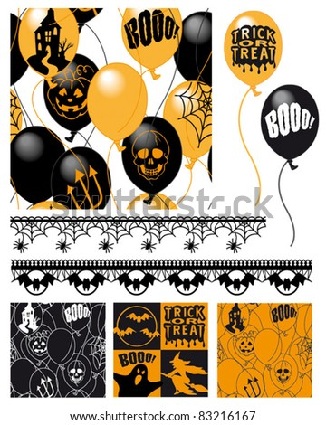 Seamless Halloween Patterns.  Use for wallpaper, textiles or paper craft projects. - stock vector