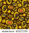 Seamless Halloween texture with black cat. Vector pattern. - stock vector