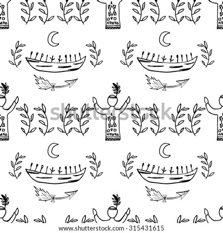 Seamless Hand Draw Ethnic Native American Indian Pattern With And Canoe