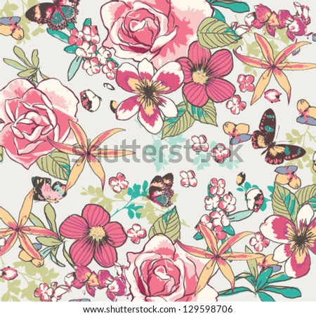 seamless hand draw flowers with butterfly on navy background - stock vector