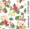 seamless hand draw tropical flower,blossom cluster pattern background - stock vector