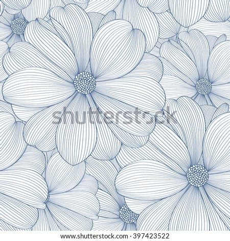 Seamless hand-drawing floral pattern with flower rose. Element for design. Vector illustration.