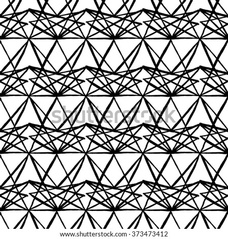 Seamless hand drawn black and white pattern