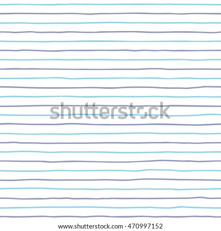 Seamless hand drawn blue stripes background. Vector illustration.