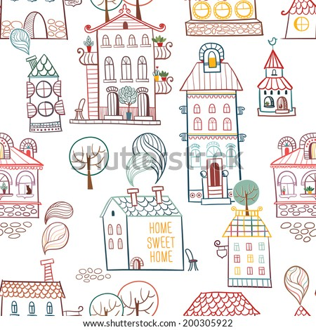 Seamless hand drawn buildings in vintage style on white background. Vector illustration. - stock vector