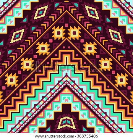 Seamless hand drawn chevron pattern with aztec ethnic and tribal ornament. Vector dark and bright colors boho fashion illustration. - stock vector