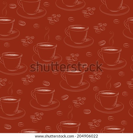 Seamless hand drawn coffee pattern. Vector illustration. - stock vector