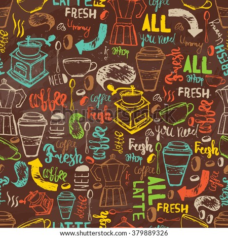 Seamless hand-drawn coffee  seamless pattern.  Coffee pattern with lettering. Colorful coffee pattern vector background for wrapping, banners. - stock vector