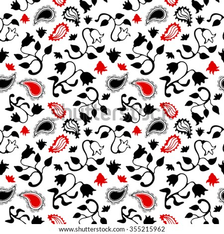 Seamless hand drawn floral pattern with paisleys and stylized Turkish tulips. Oriental textile collection. Black and red on white. Backgrounds & textures shop. - stock vector