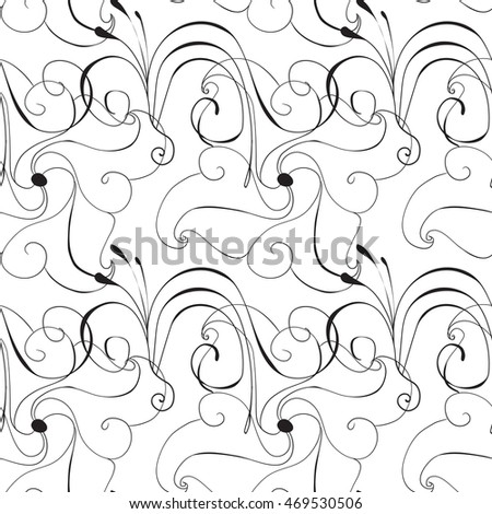 Seamless Hand Drawn Flower Pattern. Spring or Summer Floral Background