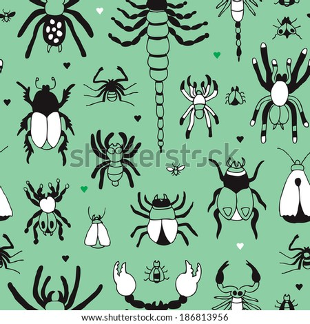 Seamless hand drawn insect bugs and creepy creatures background pattern in vector