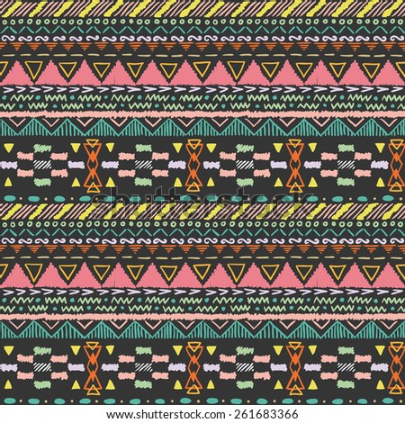 Seamless hand drawn pattern in aztec style 2 - stock vector