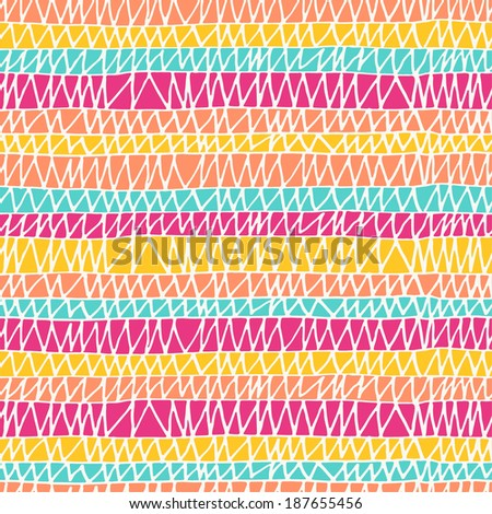 Seamless hand drawn pattern in bright colors. Vector illustration - stock vector
