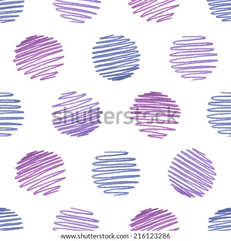 Seamless hand-drawn pattern. Round pencil strokes on white background. - stock vector