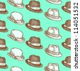 Seamless hand drawn vintage hat pattern on mint background - vector illustration. - stock vector