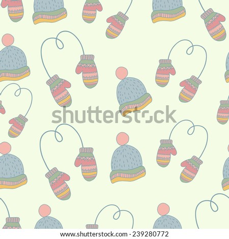 Seamless hand drawn winter clothes pattern. Set  mittens, hat, ice skates. Pastel color
