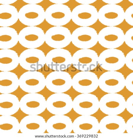 Seamless hand painted circles retro pattern. Dry brush textures. Yellow and white background can be used for wallpaper, pattern fills, web page, fabric print, postcards.