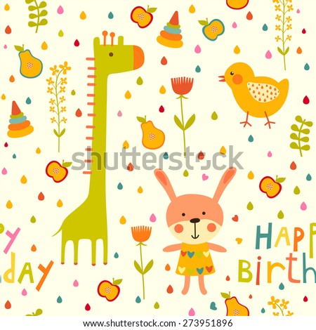 Seamless happy birthday baby background with cat, chicken and giraffe on white - stock vector