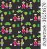 Seamless happy family pattern. Vector digital illustration. - stock vector