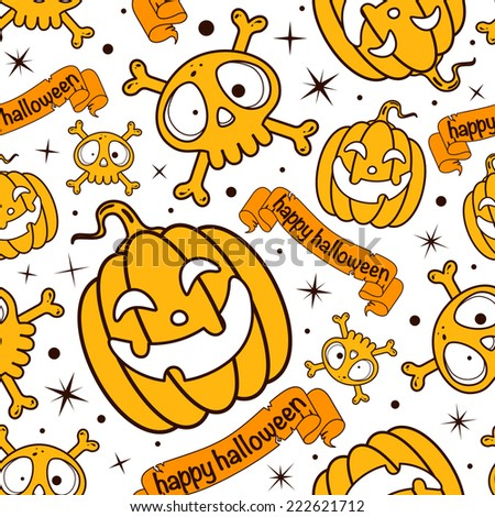 Seamless happy halloween pattern with pumpkins and skulls and crossbones - stock vector