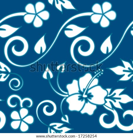 Seamless Hawaiian Flower Pattern - Blue version