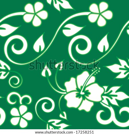 Seamless Hawaiian Flower Pattern - Green version